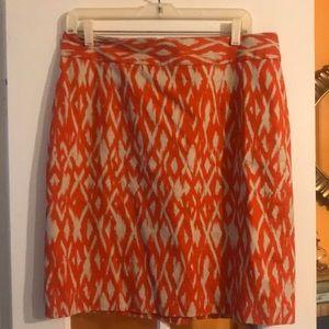 Banana Republic Orange Patterned Pencil Skirt